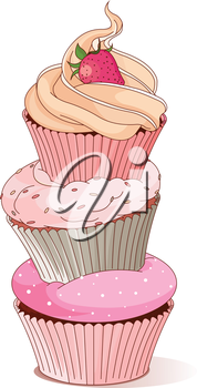 Royalty Free Clipart Image of a Stack of Cupcakes