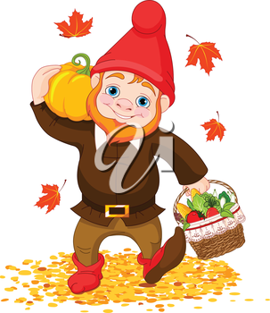 Royalty Free Clipart Image of a Garden Gnome at Harvest