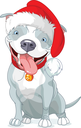 Royalty Free Clipart Image of a Dog in a Santa Hat