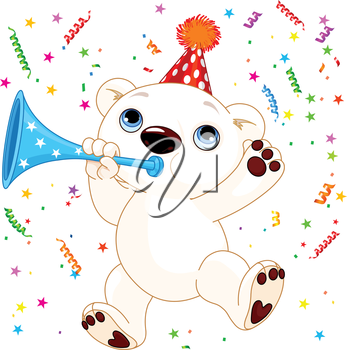 Illustration of cute polar bear celebrating