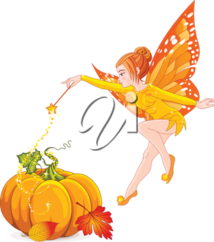 Illustration of flying autumn fairy