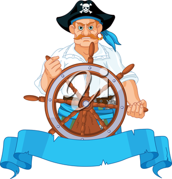 Pirate at the wheel of his ship