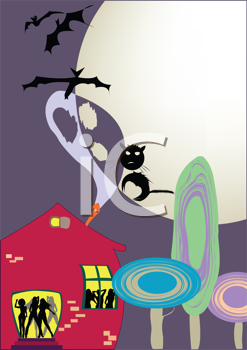 Royalty Free Clipart Image of a Halloween Party