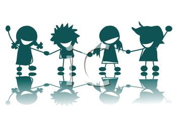 Royalty Free Clipart Image of a Happy Group of Silhouetted Children