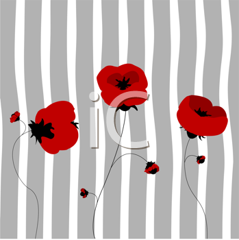 Poppies in the spring, clip art