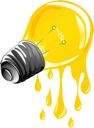 dripping energy light bulb. Isolated and grouped objects over white background