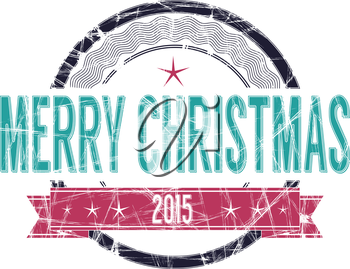 Isolated Merry Christmas vectorgrunge rubber stamp in colors