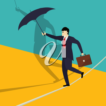 Businessman walks a tightrope trying to find balance, conceptual corporate graphic.