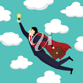 Superhero businessman is flying with a new idea towards the skies, conceptual corporate graphic