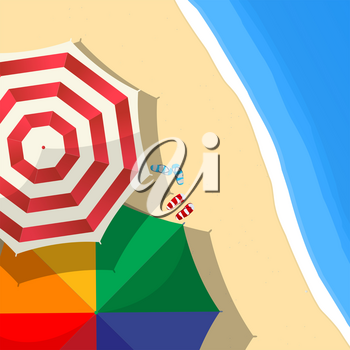 Summer day at the beach composition with umbrellas and slippers, aerial view, vector illustration