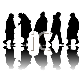 Royalty Free Clipart Image of Old People Silhouettes