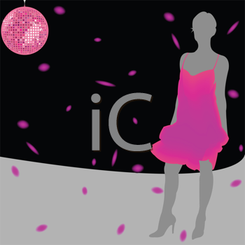 girl silhouette wearing pink dress over disco background; abstract composition; art illustration