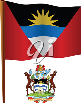 antigua and barbuda wavy flag and coat of arms against white background, vector art illustration, image contains transparency