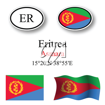 eritrea icons set against white background, abstract vector art illustration, image contains transparency