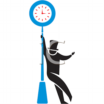 Royalty Free Clipart Image of a Man at a Clock