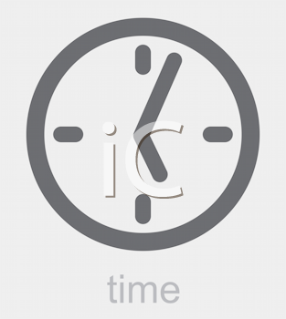 Royalty Free Clipart Image of a Clock and the Word Time