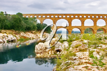 Royalty Free Photo of the Bridge Aqueduct Pont du Gard in Provence
