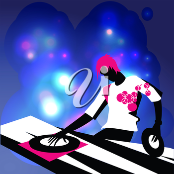 Royalty Free Clipart Image of a DJ Playing Music
