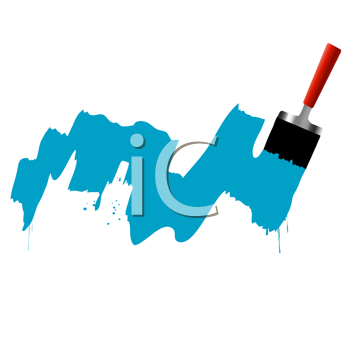 brush and blue paint