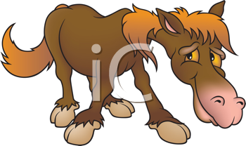 Royalty Free Clipart Image of a Brown Horse