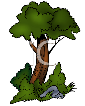 Royalty Free Clipart Image of a Tree Growing Out of Grass