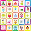 Royalty Free Clipart Image of a Background With Children's Toys