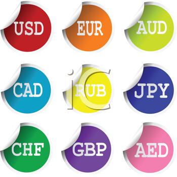 Fresh labels with international currency abreviations