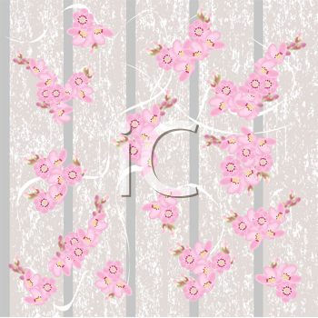 Royalty Free Clipart Image of Vintage Wallpaper With Cherry Blossoms