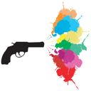 Black revolver with colored paint splashes