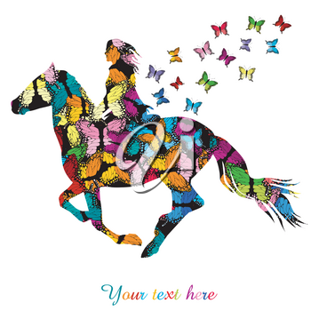 Abstract woman riding a horse and colorful butterflies flying