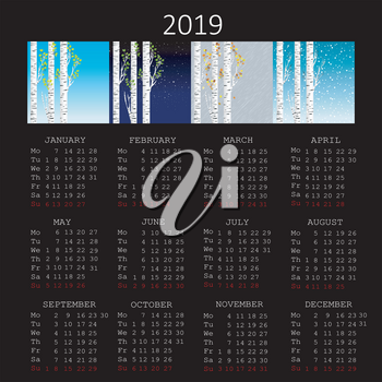 2019 calendar with seasons and birch tree on black background
