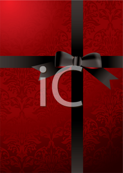 Royalty Free Clipart Image of a Red Background With a Ribbon