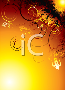 Royalty Free Clipart Image of a Sun and Grungy Flourishes