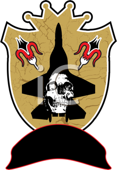 Royalty Free Clipart Image of an Abstract Shield With a Skull