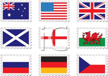 Royalty Free Clipart Image of Nine Stamps