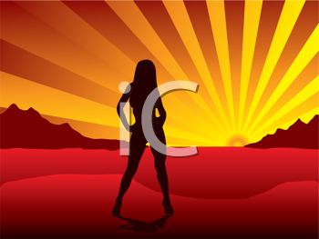 Royalty Free Clipart Image of a Woman Standing at Sunrise