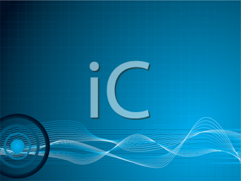 Royalty Free Clipart Image of a Blue Background With a Wave