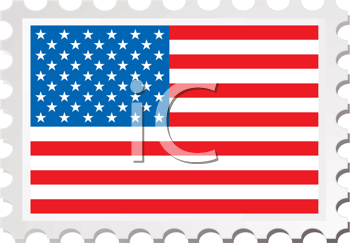 Royalty Free Clipart Image of an American Flag Stamp