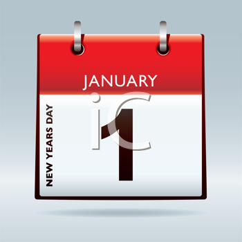 New years day date on calendar with drop shadow