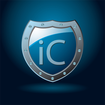 Dark blue or cobalt illustrated protection of a shield with gradient background
