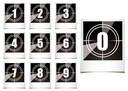 Collection of instant photographs with film type count down numbers