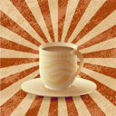 Royalty Free Photo of a Cup of Coffee on a Gradient Grunge Background