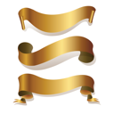 Royalty Free Clipart Image of Golden Ribbons