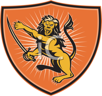 Royalty Free Clipart Image of a Pointing Lion With a Sword