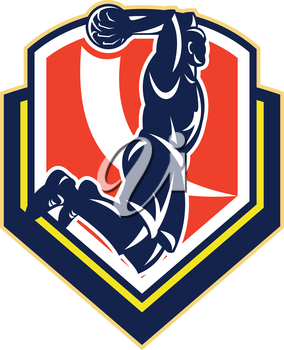 Illustration of a basketball player jumping dunking ball set inside shield crest done in retro style.