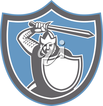 Illustration of crusader knight in full armor brandishing a sword set inside shield crest facing front on isolated background done in retro style.