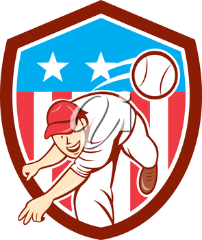 Illustration of an american baseball player pitcher outfilelder throwing ball set inside shield crest with american stars and stripes flag in the background done in cartoon style.