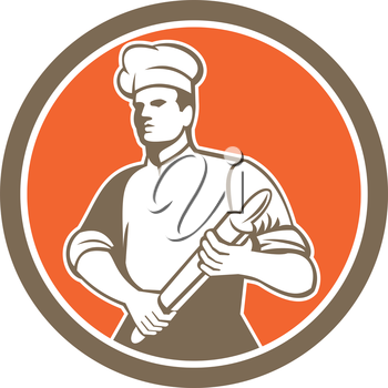 Illustration of a chef cook baker holding rolling pin looking to the side set inside circle done in retro style.