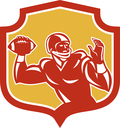 Illustration of an american football gridiron quarterback player throwing passing ball facing side set inside crest shield on isolated background done in retro style.