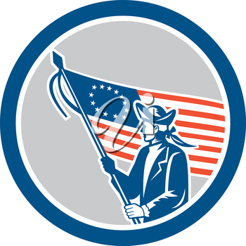 Illustration of an American patriot soldier military serviceman waving holding USA stars and stripes flag set inside circle on isolated background done in retro style.